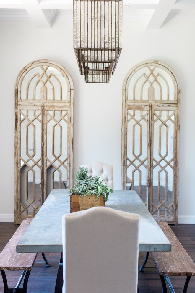 Arched Floor Mirror   Transitional Dining Room Also Antiqued Mirror Arcadia Arched Floor Mirror Ceiling Detail Concrete Table Decorative Mirrors Dining Room Farmhouse Mirrored Chandelier Phoenix Rafterhouse Two Floor Mirrors Wood Bench