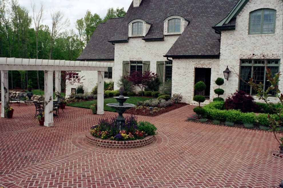 Arrington Roofing   Traditional Exterior  and Cast Iron Fountain Herringbone Brick Main Entrance Courtyard Pergola