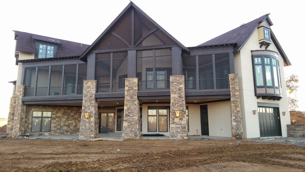 Arrington Roofing   Transitional Exterior Also Bay Window Boat Garage Garage Patio Screen Porch Shingle Roof Stone Stucco
