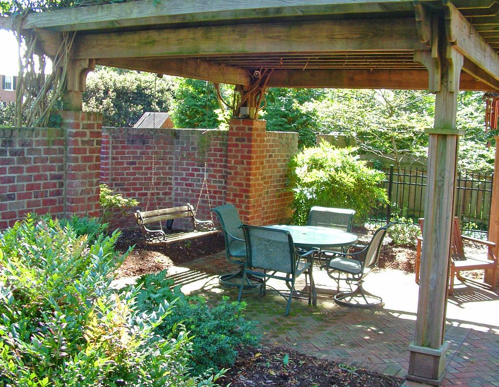 Arrington Roofing with Traditional Spaces  and Brick Pavers Brick Privacy Wall Pergola Screen Porch