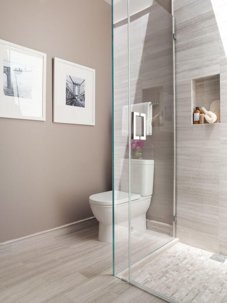 Atlas Plumbing Sf with Contemporary Bathroom Also Beige Walls Black and White Photography Frameless Glass Shower Pink Flowers Shower Enclosure Shower Niche Tile Baseboard White Toilet