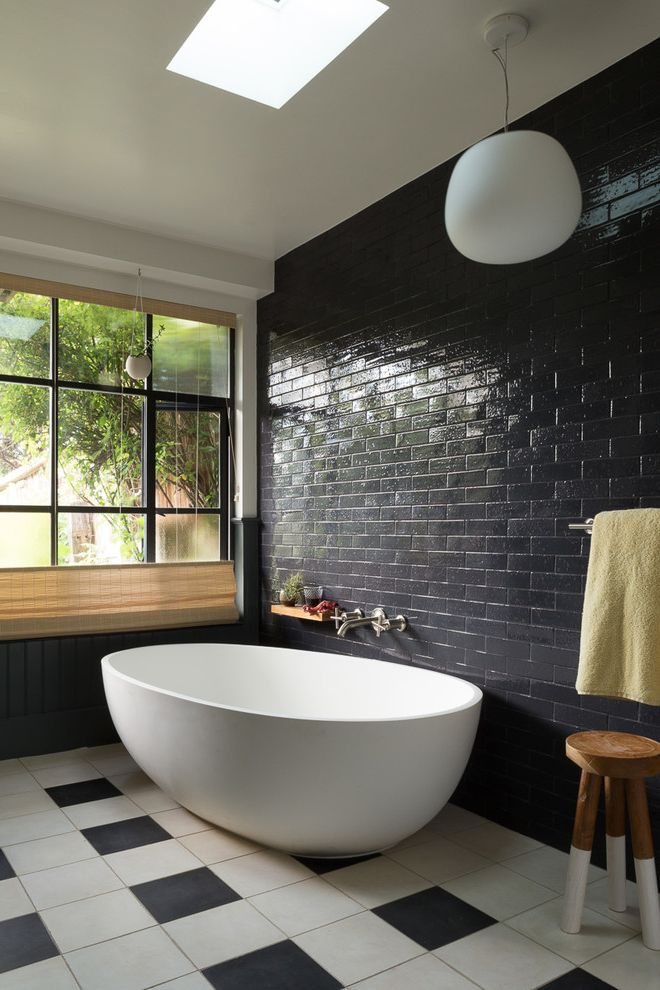 Atlas Plumbing Sf with Eclectic Bathroom Also Black and White Floor Tile Black Beadboard Black Tile Wall Black Wainscoting Pendant Light Skylight Wood Stool