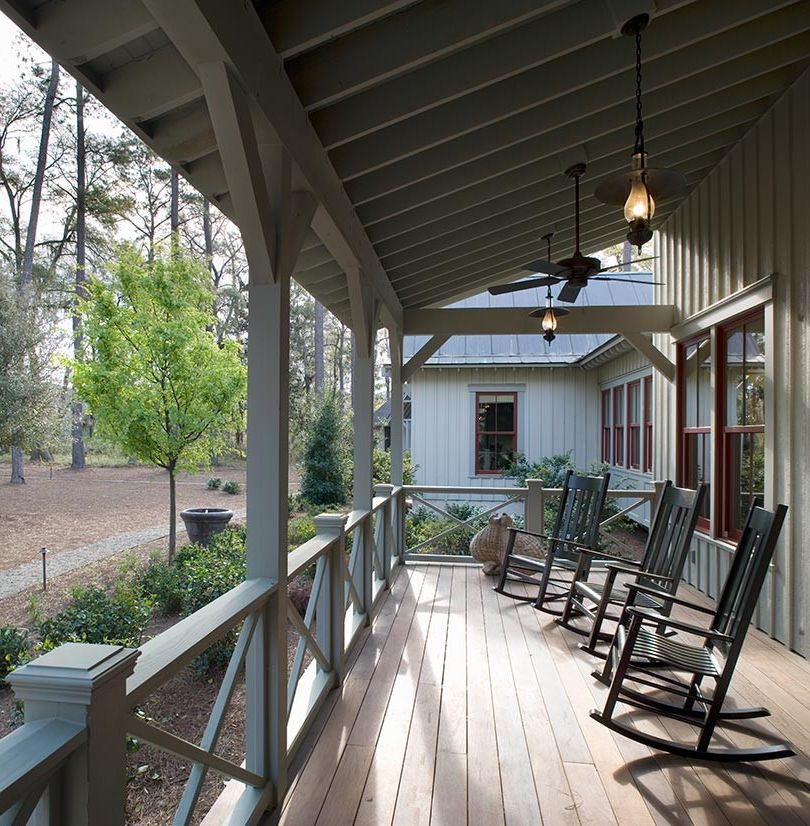 Back Porch Additions   Rustic Porch  and Board and Batten Cabin Dormer Windows Double Hung Windows Entrance Entry Gable Gravel Handrail Landscape Lowcountry Metal Roof Path Porch Southern Standing Seam Roof Walkway White Wood Railing Wood Siding