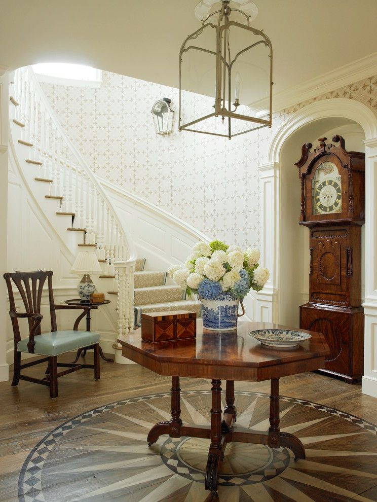 Beauty and the Beast Grandfather Clock   Beach Style Entry Also Ceiling Light Curved Staircase Entry Table Grandfather Clock Hamptons Long Island New York Southampton Wallpaper