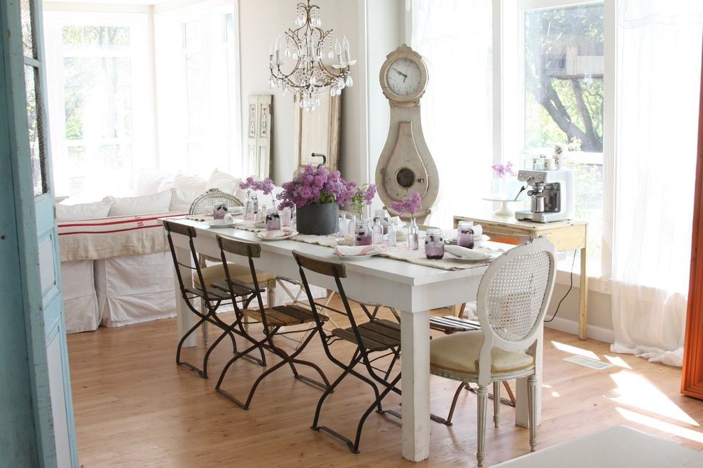 Beauty and the Beast Grandfather Clock   Shabby Chic Style Dining Room Also Bistro Chairs Crystal Chandelier Farmhouse Table Flea Market French Chair Grandfather Clock Lilacs Rustic Shabby Chic Table Arrangement Tablescape White White Dining Table