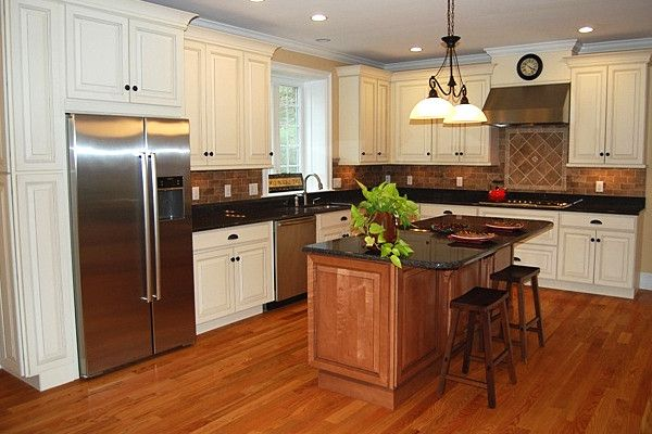 Beauty and the Beast Grandfather Clock with Traditional Kitchen  and Island Kitchen Island Maple Cabinets Maple Kitchen Maple Kitchen Cabinets White Cabinets White Kitchen White Kitchen Cabinets Wood Floors