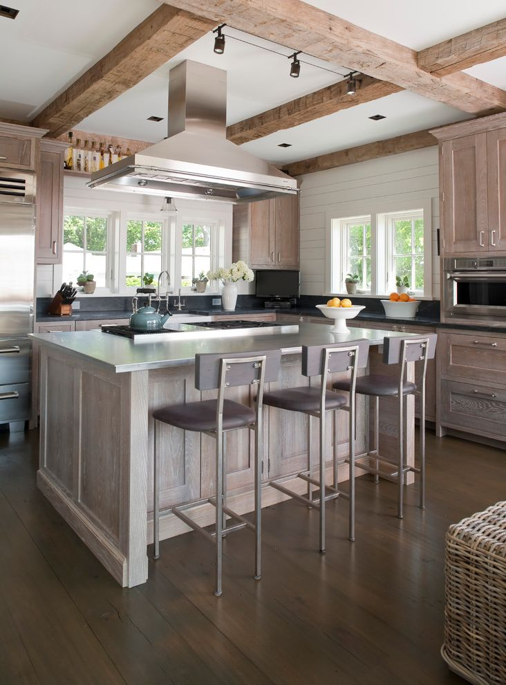 Bona Stain Colors   Beach Style Kitchen Also Bar Stools Beachy Beams Cabinetry Cabinets Coastal Counter Stools Exposed Beams Gray Grey Hood Kitchen Island Metal Olive Oil Shelf Refrigerator Rustic Shiplap Stainless Steel Steel