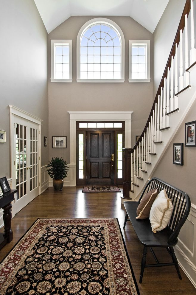 Bona Stain Colors   Traditional Entry Also Area Rug Dark Stained Wood French Doors Gray Muntins Oriental Rug Sidelights Staircase Transom Window White Trim Windsor Bench Wood Floor