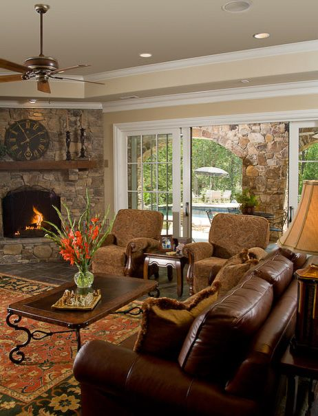 Bradington Young Recliner Reviews with Traditional Family Room  and Double Sliders by Pella Loggia Patio Doors Pool Rough Cedar Beam Mantle Sliding Doors Sliding Patio Doors Stark Sumac Rug Stone Fireplace