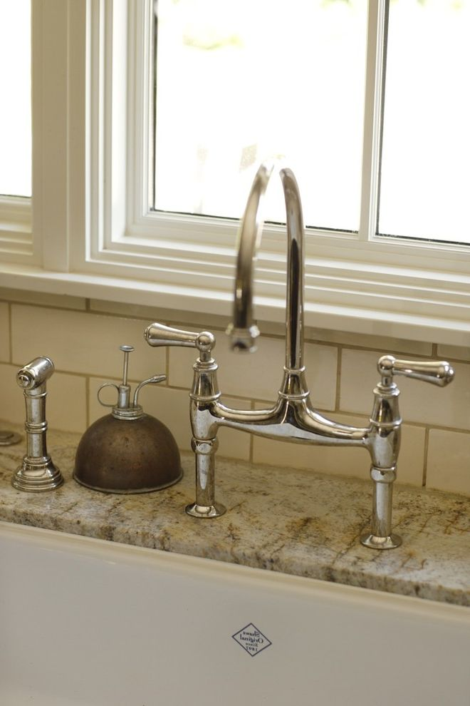 Bridge Faucets for Kitchen   Traditional Kitchen Also Classic Custom Soap Dispenser Faucet Hardware Flush Inset Cabinets French Country Granite Countertop Kitchen Painted Cabinets Stacked Tile Subway Tile White Subway Tile White Trimmed Windows