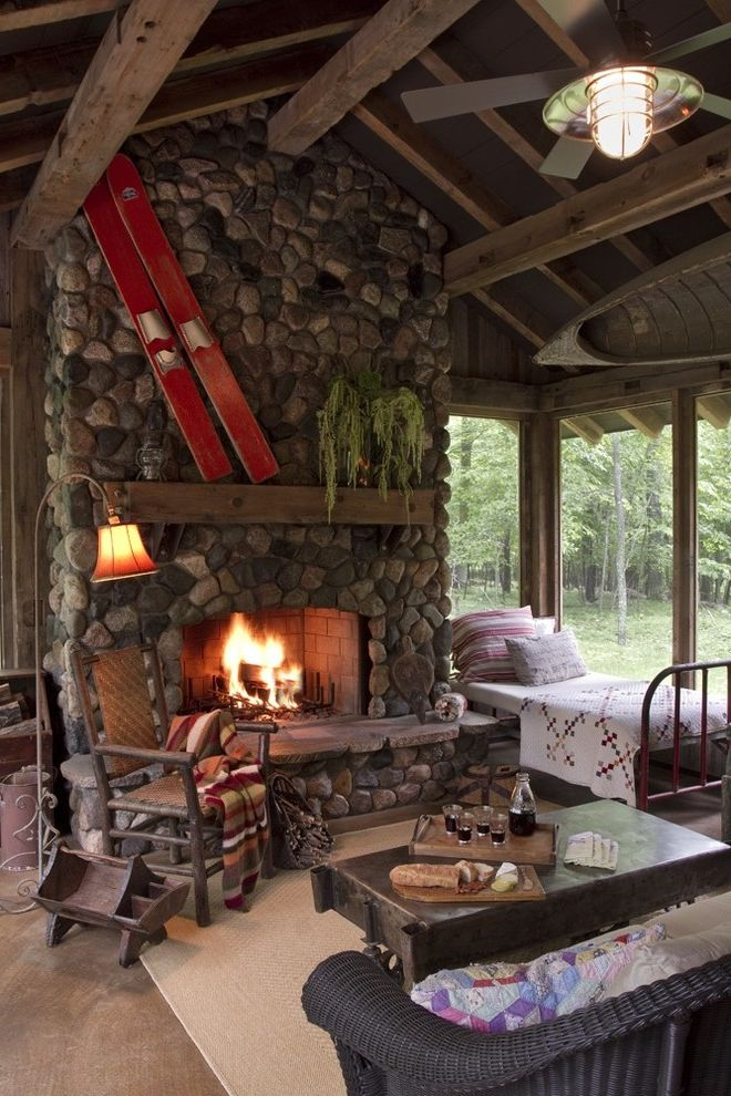 Brushed Nickel Fireplace Screen with Rustic Porch  and Cabin Fireplace Iron Bed Lodge Mantel Reclaimed Wood River Rock Rustic Stained Concrete Wicker