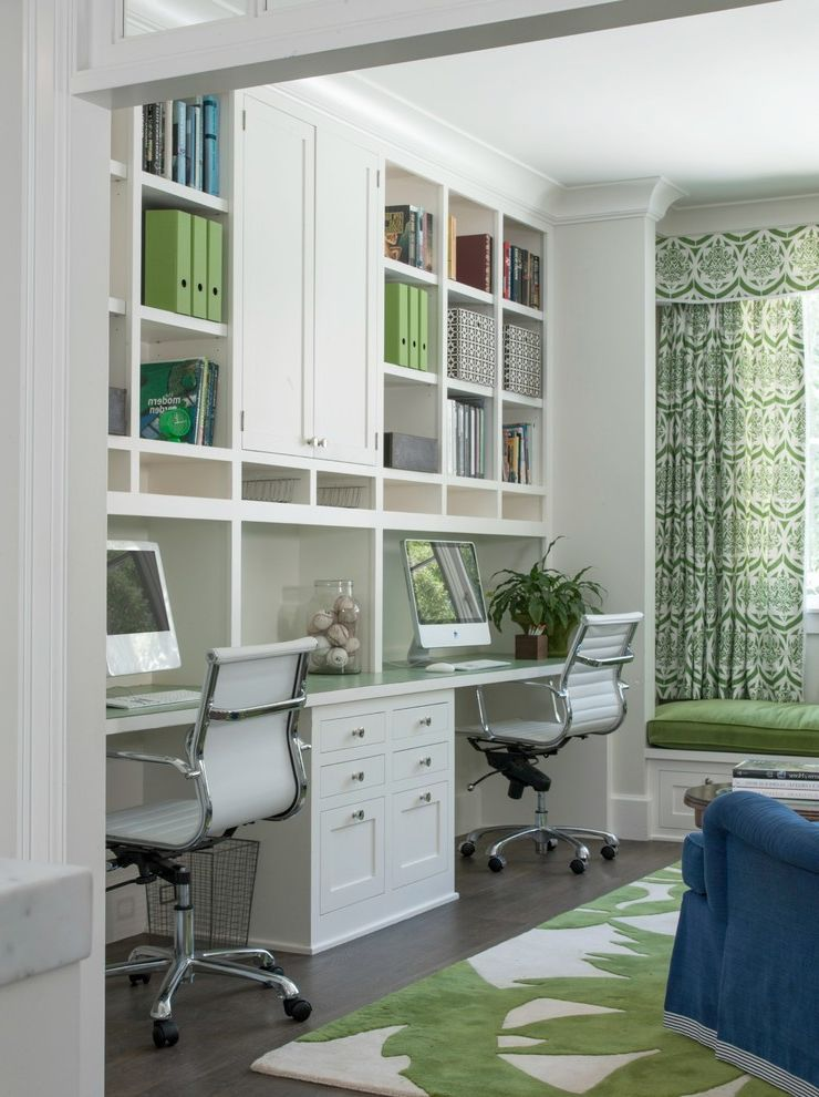 Buying a Short Sale House with Transitional Home Office Also Bench Seating Built Ins Built in Bookshelves California Green Area Rug Green Curtains Green Office Home Office Homework Homework Room Modern Study Traditional Two Person Office