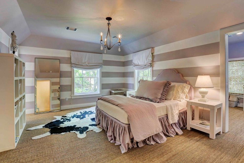 Carpet Repair Houston   Shabby Chic Style Bedroom Also Bedding Chandelier Cowhide Farmhouse Girls Bedroom Lavender Remodel Retreat Seagrass Striped Walls