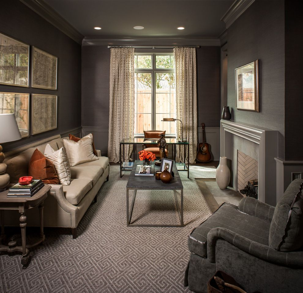Carpet Repair Houston   Traditional Living Room Also Area Rug Arm Chair Curtain Panels Fireplace Glass Desk Gray Walls Mantel Metal Coffee Table Orange Rust Accents Sofa Wall Maps Wallpaper