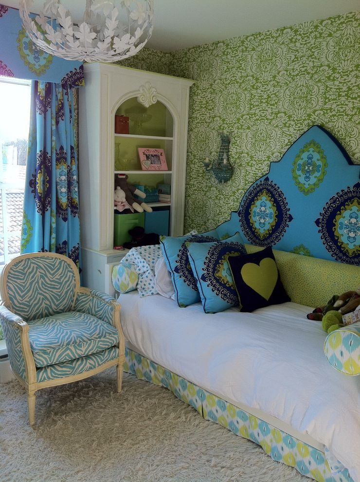 Carpet Repair Houston with Eclectic Kids  and Arm Chair Bedskirt Bookcase Carpeting Chandelier Curtain Panel Day Bed Green Blue Medallions Pillows Valance Wallpaper White Painted Wood Zebra Print