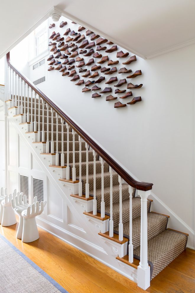 Carpet Repair Houston with Transitional Staircase Also Carpet Runner Connecticut Contemporary Art Countryside Federal Style Foyer Green Bottles Green Glass Hands Linen Linen Drapery Litchfield Mirrors Sconces Shoes Sisal White House White Walls