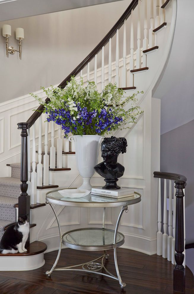 Carpet Repair Houston with Transitional Staircase  and Bust Curved Staircase Flower Arrangement Gray Walls Stair Landing Stair Runner Wainscoting White Trim Wood Floors