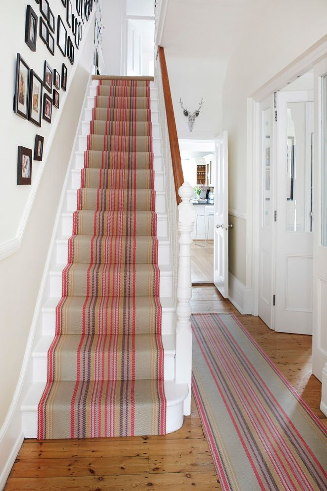 Carpet Runners by the Foot   Contemporary Staircase  and Black White Photos Entrance Hall Hall Hallway Pink Pink Stripes Stair Runner Stairs Striped Runner Striped Stair Runner Stripes