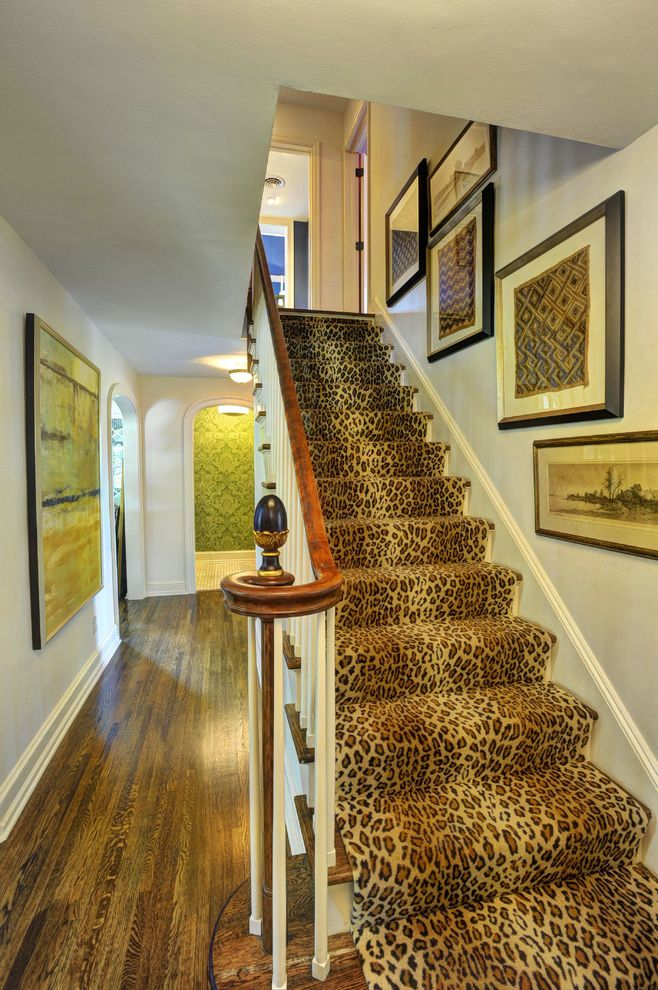 Carpet Runners by the Foot   Traditional Staircase Also Finial Framed Wall Art Leopard Print Newel Post Stair Runner