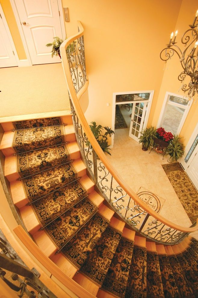 Carpet Runners by the Foot   Traditional Staircase  and Carpet Runner Entrance Entry Floor Medallion Floor Tile Design Foyer French Doors House Plants Oriental Rug Spiral Staircase Staircase Carpet White Wood Wood Staircase Wood Trim