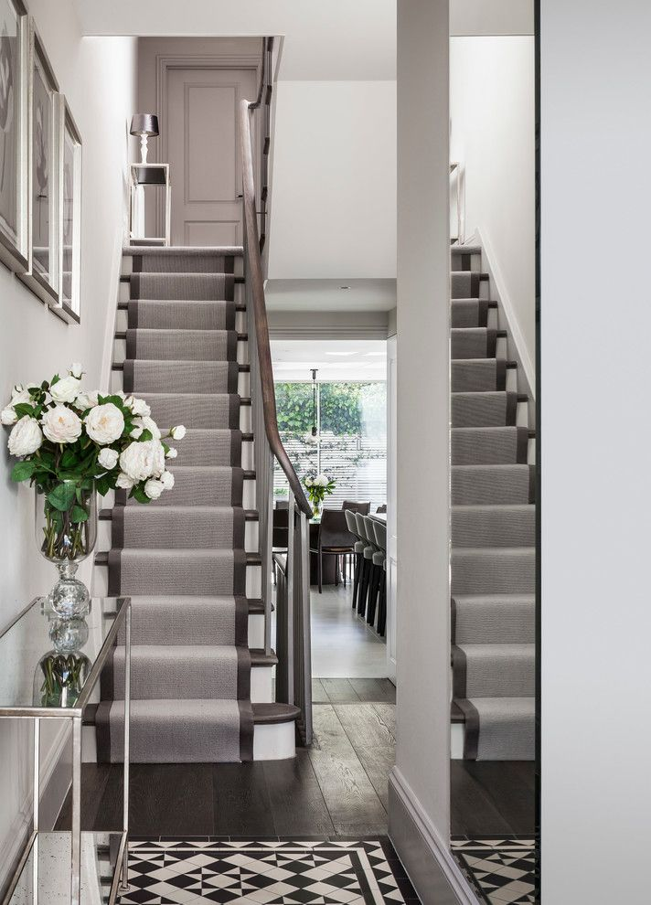 Carpet Runners by the Foot with Contemporary Staircase Also Contemporary Contemporary Hallway Dark Hardwood Floor Framed Wall Art Glass Side Table Grey Runner Mirror Console Tiled Walkway Victorian Tile Wall Mirror Wooden Handrail