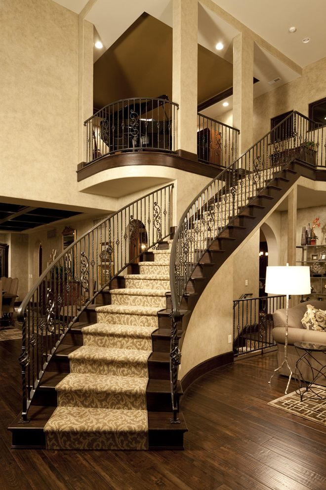 Carpet Runners by the Foot with Traditional Staircase  and Banister Carpet Runner Dark Floor Faux Finish Handrail Ironwork Monochromatic Neutral Colors Staircase Carpet Wood Flooring Wrought Iron Railing
