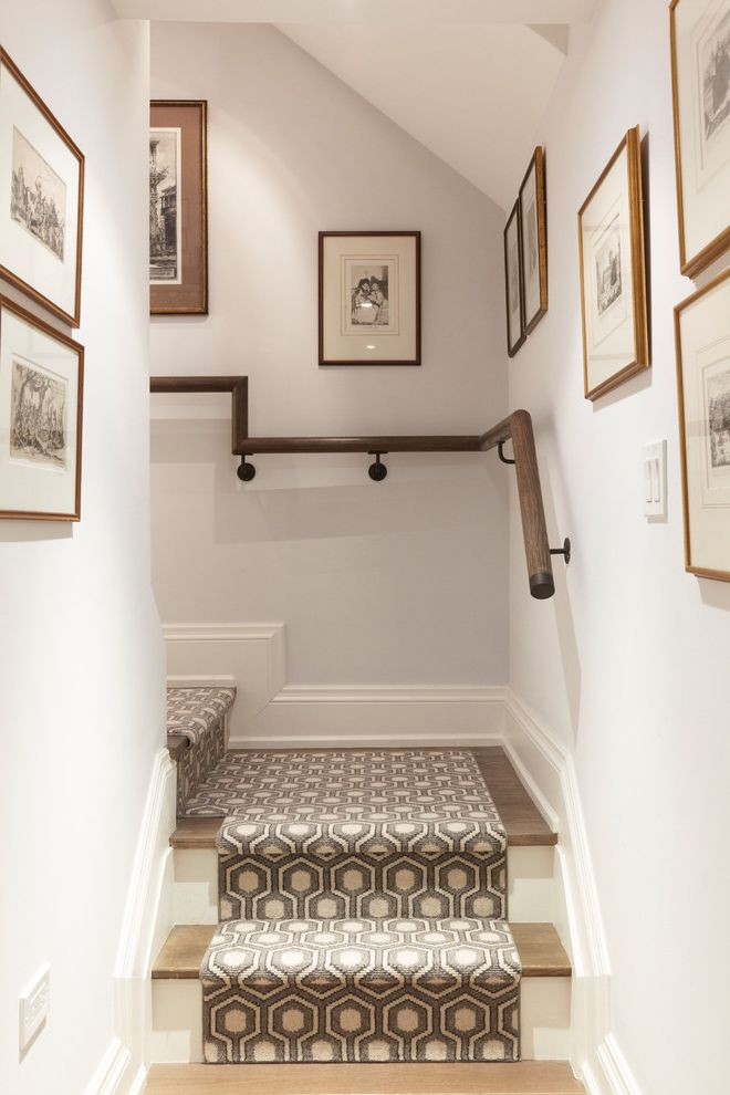 Carpet Runners by the Foot with Traditional Staircase  and Carpet Runner Family Photos Framed Photos Gallery Wall Patterned Carpet Wood Railing