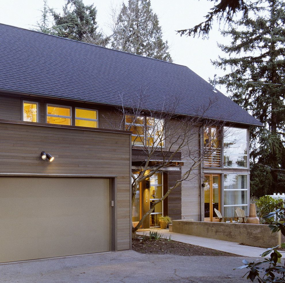 Cedar Siding Cost   Contemporary Exterior Also Driveway French Doors Neutral Colors Outdoor Lighting Path Walkway Wood Siding