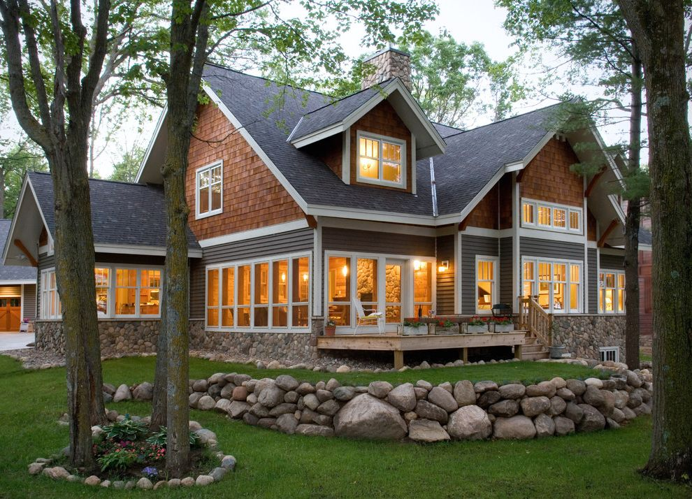 Cedar Siding Cost   Traditional Exterior  and Deck Dormer Window Landscaping Rock Wall Shingle Roof Shingle Siding Stone Chimney Stone Wall