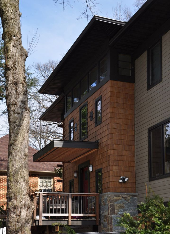 Cedar Siding Cost with Contemporary Exterior  and Black Windows Flat Roof Overhang Shingle Siding Stone Wood and Grey Wood Railing
