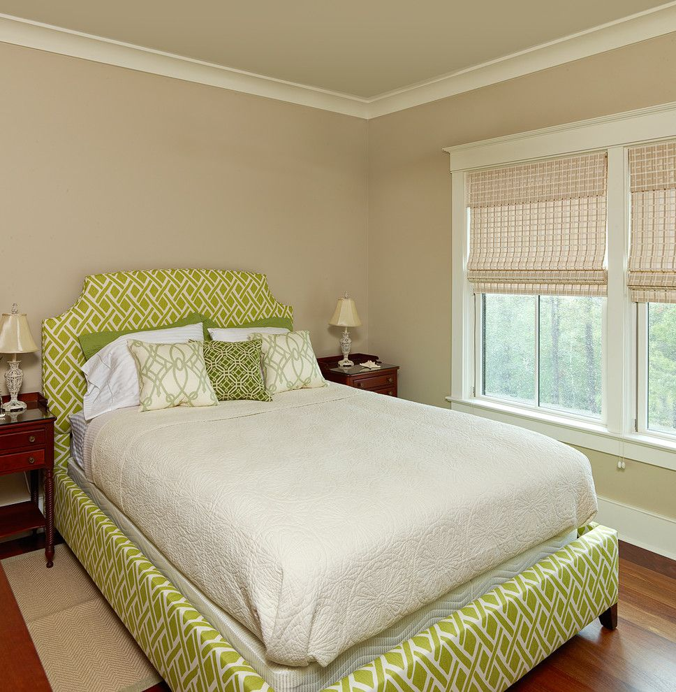 Ceiling Molding Types   Traditional Bedroom Also Baseboard Beige Roman Shade Crown Molding Dark Wood Nightstands Green and White Pillows Lime and White Fabric Tan Walls White Quilt White Window Casing Wood Floor Woven Pattern