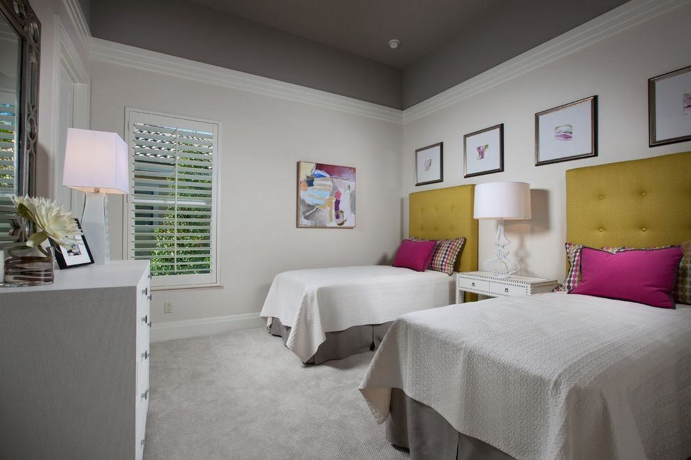 Ceiling Molding Types with Transitional Bedroom  and Bed Bedding Carpet Crown Molding Green Headboard Grey Ceiling Shutters Upholstered Headboard