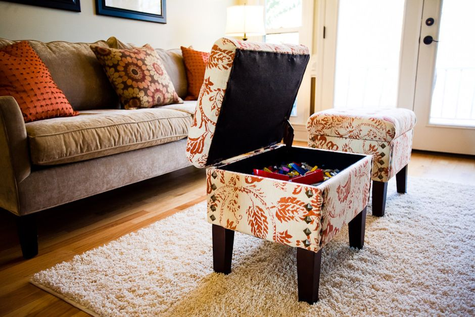 Circle Ottoman with Storage with Traditional Living Room Also Traditional