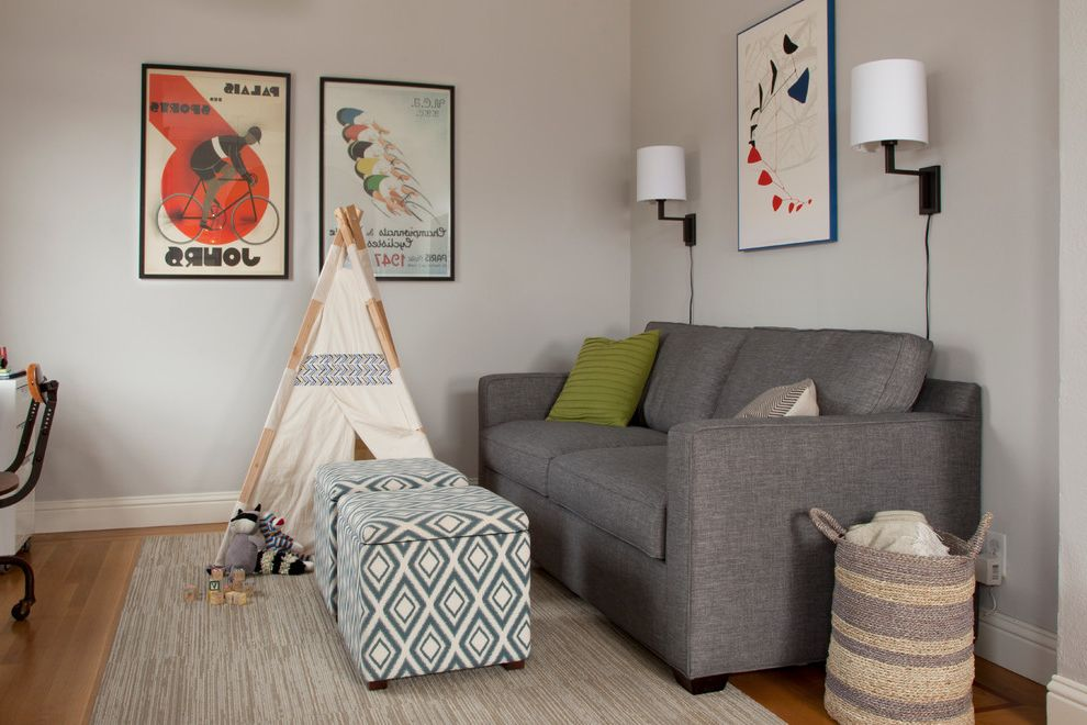 Circle Ottoman with Storage with Transitional Family Room  and Beige Rug Blanket Basket Desk Gray Couch Kids Tipi Lime Green Pillow My Houzz Patterned Cubes Wall Mounted Lamps Woven Basket