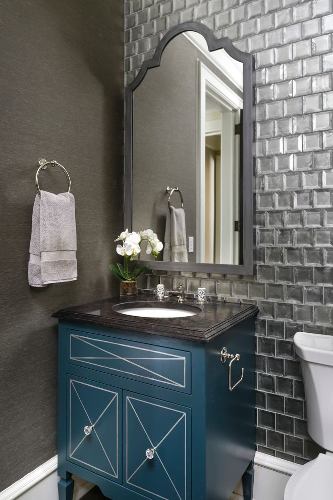 Concrete Cost Per Square Foot with Transitional Powder Room Also Framed Wall Mirror Hand Towel Orchid Tile Wall Toilet Paper Holder Towel Ring X Pattern Cabinet Doors