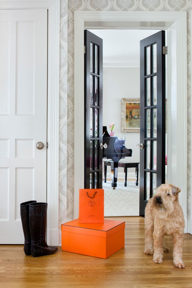 Corepower Yoga Austin   Transitional Hall  and Black Dog Entry Foyer French Doors Hermes Interior Design Martha Ohara Interiors Mudroom Piano Wallpaper White