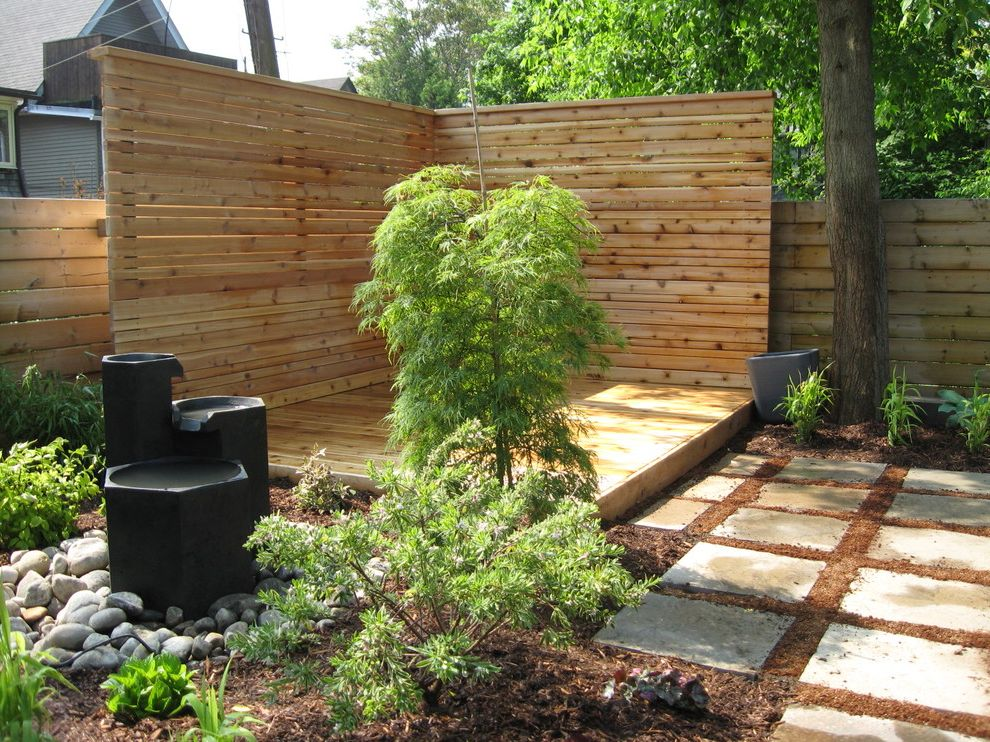 Corner Lot Fence Ideas   Modern Landscape  and Bark Mulch Japanese Maple Knotty Pine Mature Treen Patio Privacy Screen Stepping Stones Stones Water Feature Wood Deck Wood Fence Wood Slat