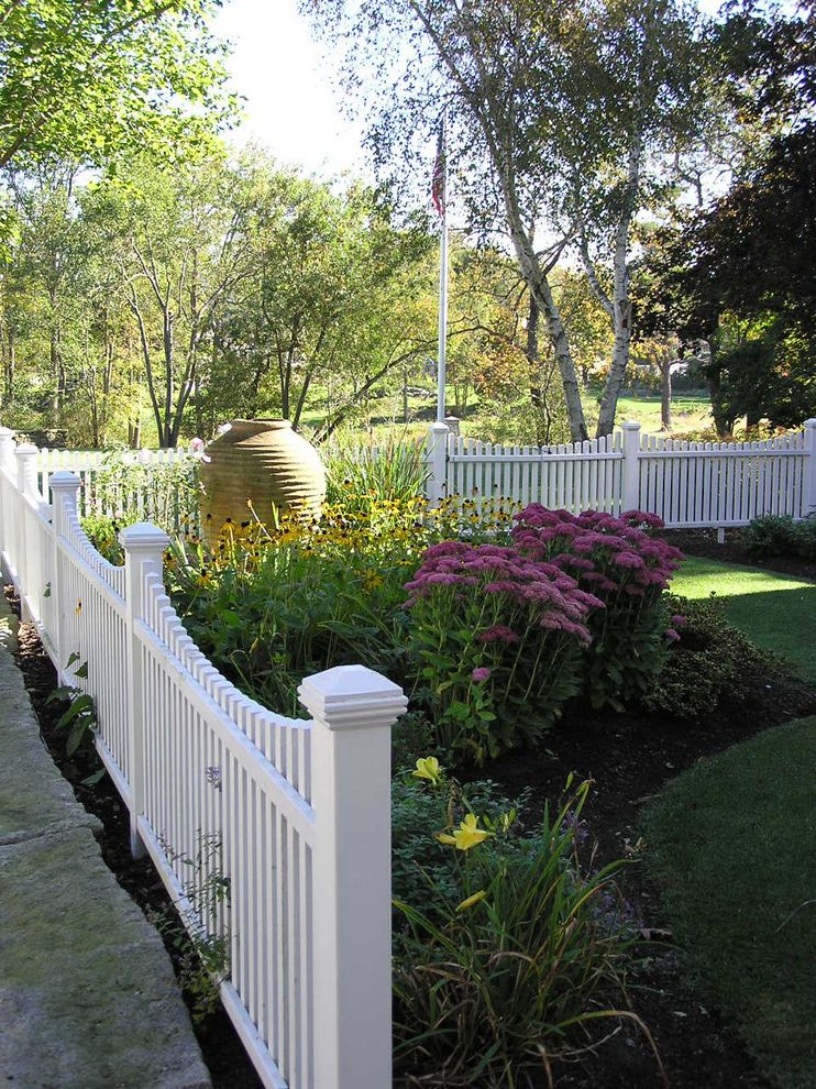 Corner Lot Fence Ideas   Traditional Landscape Also Cottage Garden Flagpole Garden Garden Art Grass Lawn Mass Plantings Picket Fence Sidewalk Turf Urn Wood Fencing