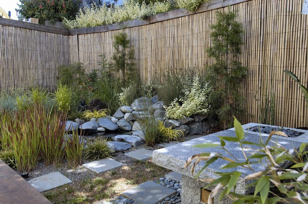 Corner Lot Fence Ideas with Asian Landscape Also Asian Bamboo Bamboo Fencing Japanese Minimal Natural Paver Pond River Rock Rock San Francisco Step Stone Water Feature