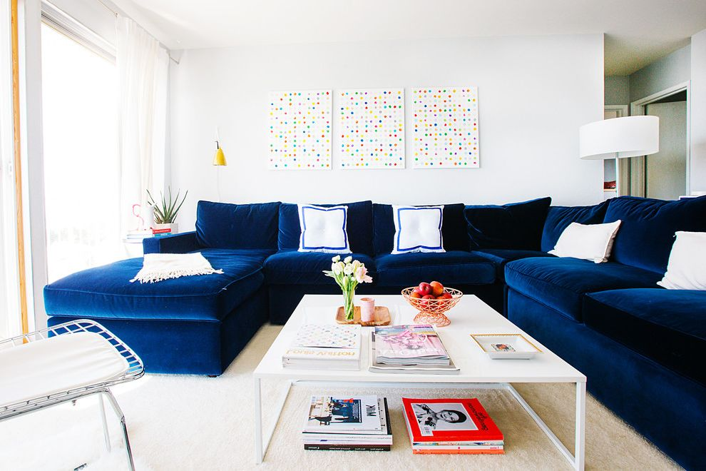 Down Filled Sectional with Transitional Living Room  and Abstract Art Blue Velvet Sectional Sofa Drum Shade Floor Lamp My Houzz Off White Carpet Pot Artwork Sectional with Chaise Stacked Coffee Table Books White Coffee Table