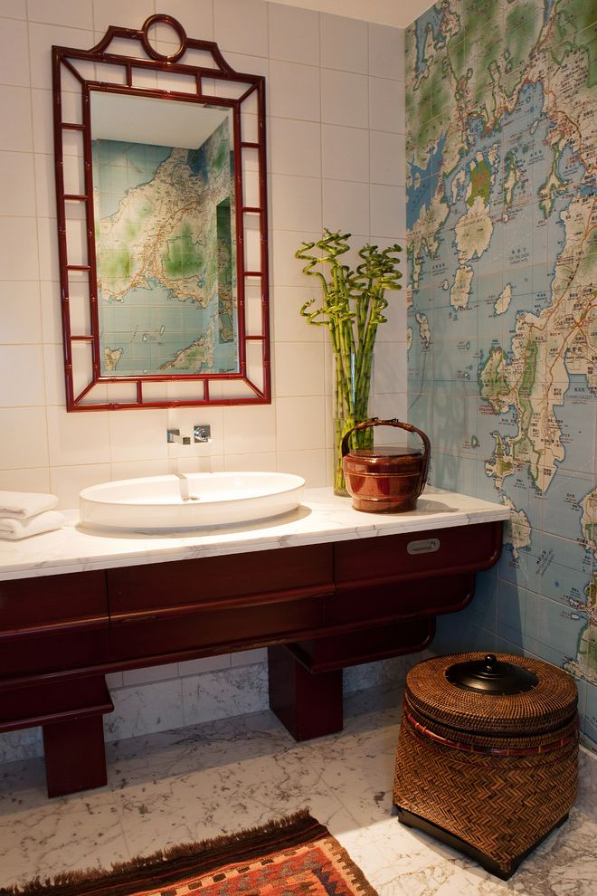 Dream World Furniture with Asian Bathroom  and Above Counter Sink Asian Mirror Frame Bamboo Dark Wood Sink Cabinet Glass Vase Map Wallpaper Marble Floor Vessel Sink World Map