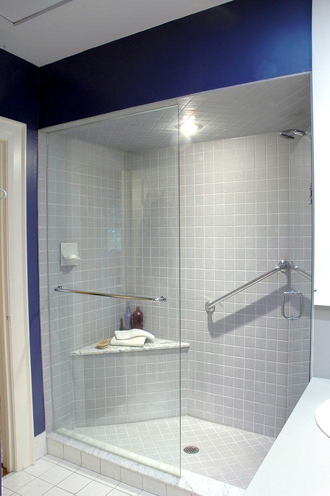Dreamline Corner Shower   Contemporary Bathroom  and Blue Walls Ceiling Lighting Glass Shower Door Handrail Marble Railing Recessed Lighting Shower Bench Tile Flooring Tile Wall White Bathroom