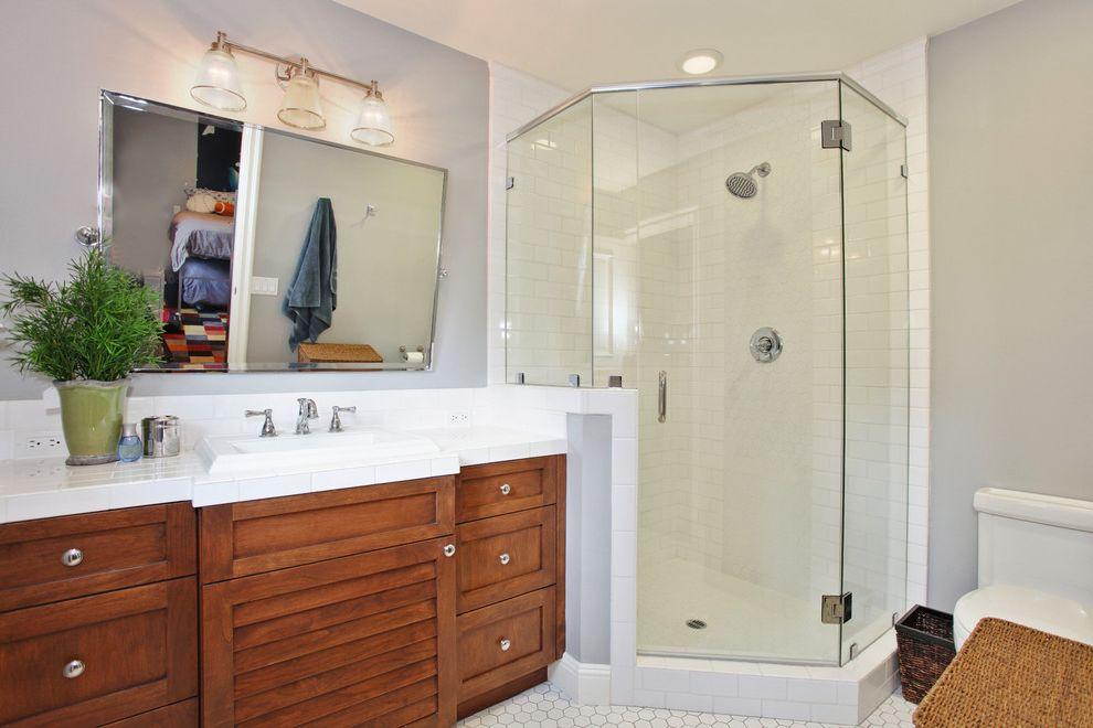 Dreamline Corner Shower   Traditional Bathroom  and Bathroom Lighting Bathroom Mirror Corner Shower Floor Tile Glass Shower Enclosure Hex Tile Shower Tile Wall Lighting Wood Cabinets