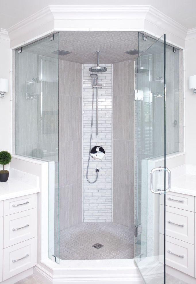 Dreamline Corner Shower   Transitional Bathroom Also Accent Tile Cambria Quartz Custom Glass Custom Vanity Elegant Frameless Shower Glass Gray Mosaic Floor Tile Handshower His and Hers Marble Neo Angle Shower Rain Shower Head