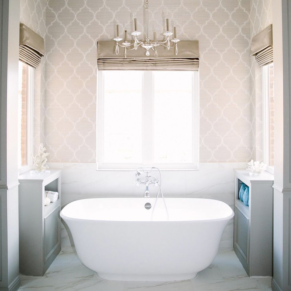 Dreamline Corner Shower with Traditional Bathroom  and Chandelier Freestanding Tub Gray Cabinet Tile Wainscoting Wallpaper