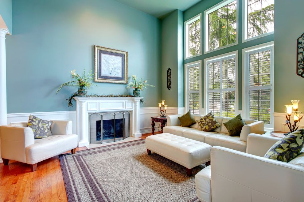 East Beach Marina Apartments   Traditional Living Room Also Blue Paint Large Windows Nautral Light Oriental Rug White Couch