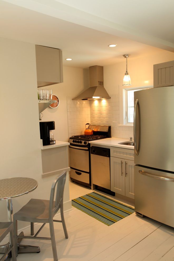 East Beach Marina Apartments with Beach Style Kitchen Also Apartment Kitchen Bar Pulls Gray Cabinets Painted Floors Pendant Lighting Quartz Counters Small Kitchen Stainless Shelving Stainless Steel Appliances White
