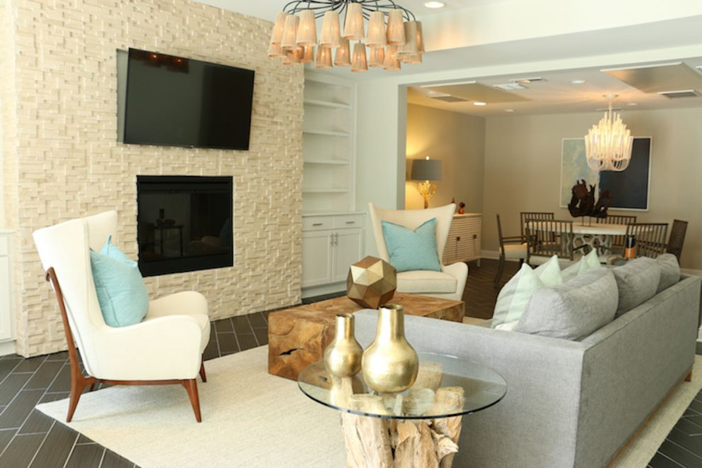 East Beach Marina Apartments with Beach Style Living Room  and Beach Chandelier Clubroom Coastal Coastal Decor Driftwood East Beach Glass Marina Modern Monochromatic Nuetral Ocean