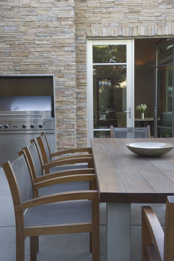 Echelon Furniture   Contemporary Patio Also Barbeque Bbq Concrete French Doors Glass Doors Inviting Modern Neutral Colors Outdoor Dining Outdoor Entertaining Stone Stone Wall Teak Patio Furniture Warm