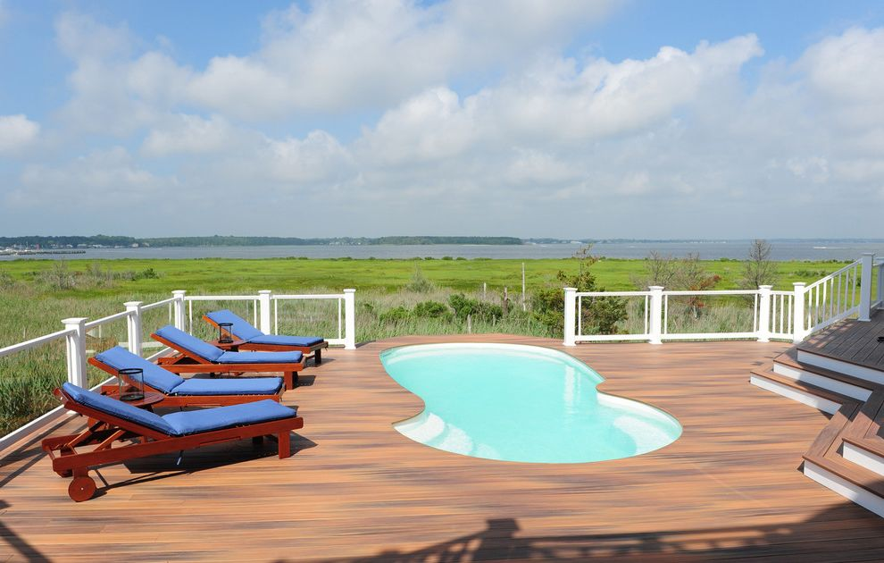 Echelon Furniture with Beach Style Deck  and Chaise Lounge Coastal Deck Handrail Marsh Outdoor Cushions Patio Furniture Pool Railing View Waterfront